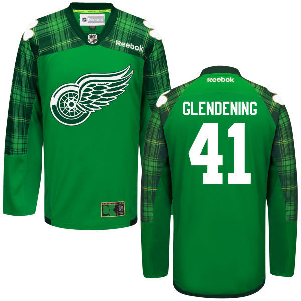 Red Wings 41 Luke Glendening Green St. Patrick's Day Reebok Jersey