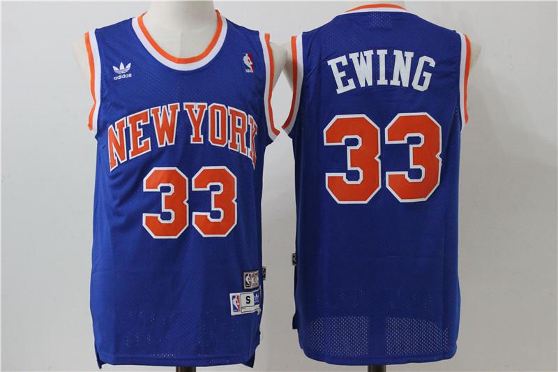 Knicks 33 Patrick Ewing Blue Hardwood Classics Jersey