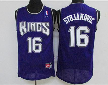 Kings 16 Peja Stojakovic Purple Stitched Jersey