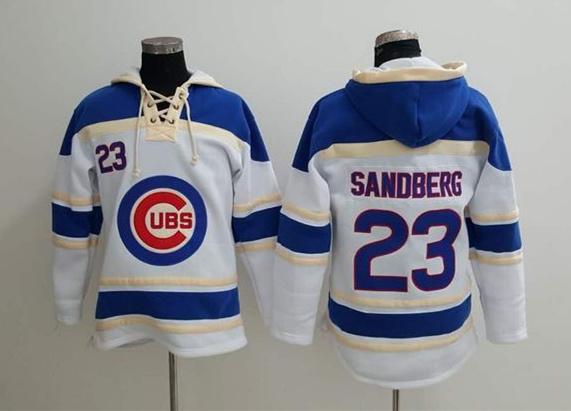 Cubs 23 Ryne Sandberg White All Stitched Sweatshirt