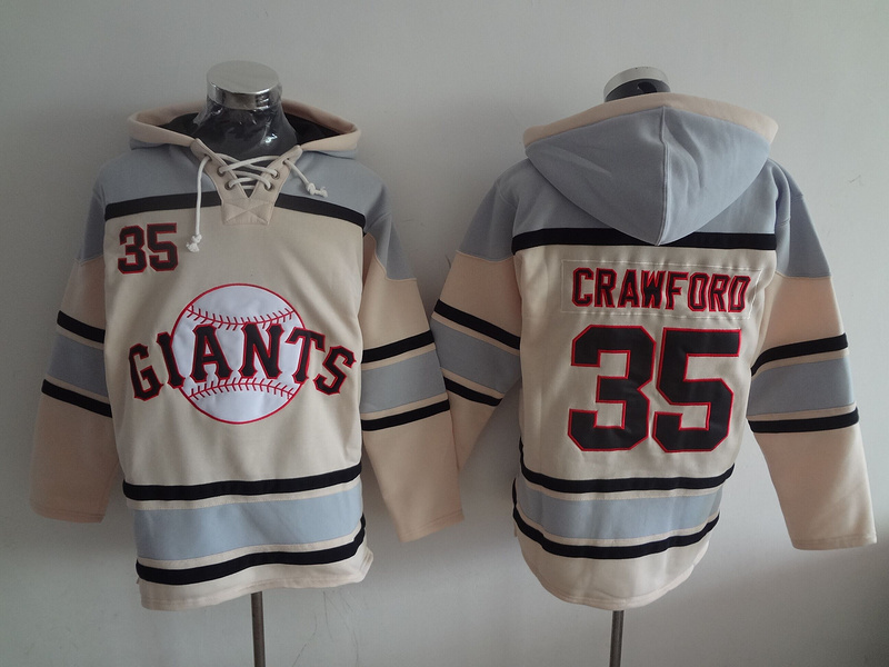 Giants 35 Brandon Crawford Cream All Stitched Sweatshirt