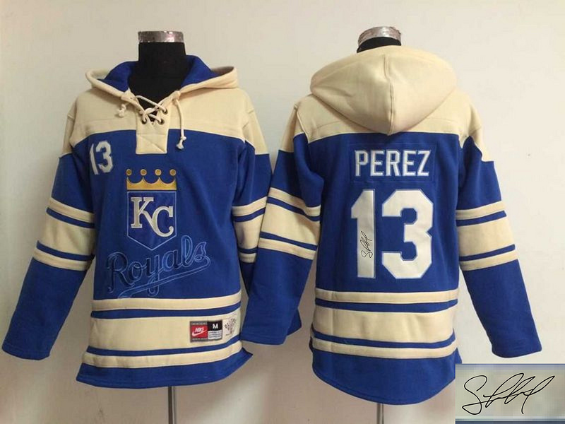Royals 13 Salvador Perez Royal Blue Signature Edition All Stitched Hooded Sweatshirt (2)