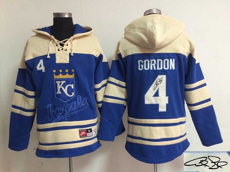 Royals 4 Alex Gordon Royal Blue Signature Edition All Stitched Hooded Sweatshirt
