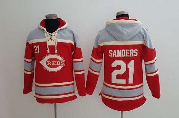 Reds 21 Reggie Sanders Red All Stitched Sweatshirt