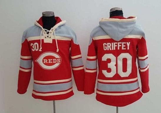 Reds 30 Ken Griffey Red All Stitched Sweatshirt