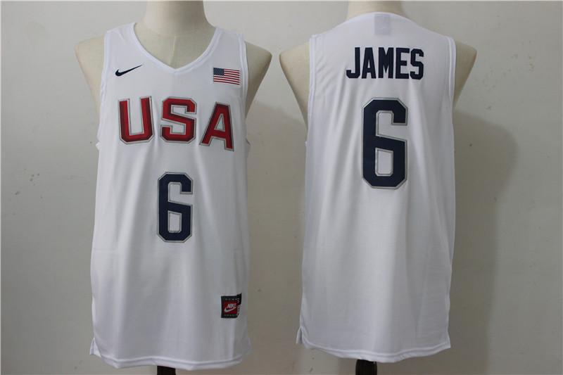 USA Basketball 6 Lebron James White Nike Rio Elite Stitched Jersey