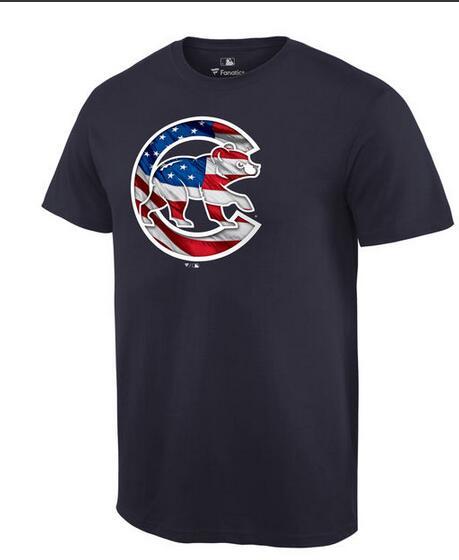 Cubs Navy USA Flag Team Logo Men's T Shirt