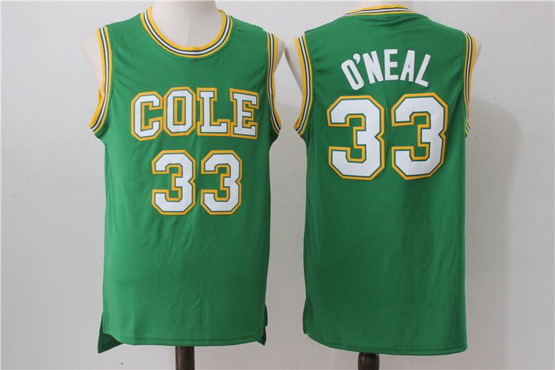 Robert G. Cole High School 33 Shaquille O'Neal Green Baseketball Jersey