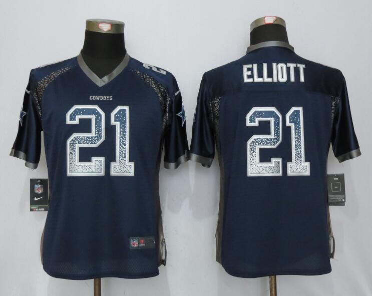 Nike Cowboys 21 Ezekiel Elliott Blue Women Drift Fashion Jersey