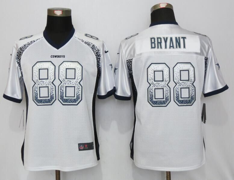 Nike Cowboys 88 Dez Bryant White Women Drift Fashion Jersey