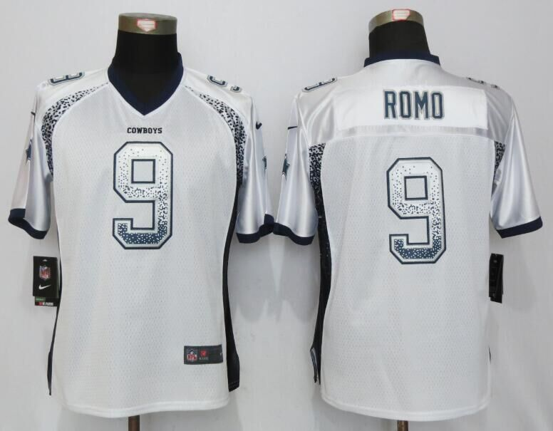 Nike Cowboys 9 Tony Romo White Women Drift Fashion Jersey