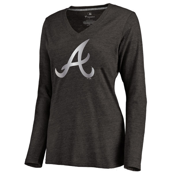 Atlanta Braves Women's Platinum Collection Long Sleeve V Neck Tri Blend T Shirt Black