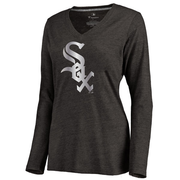 Chicago White Sox Women's Platinum Collection Long Sleeve V Neck Tri Blend T Shirt Black