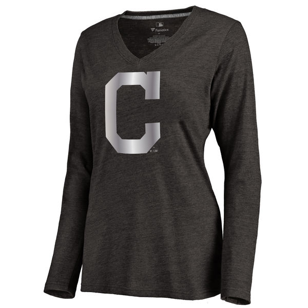Cleveland Indians Women's Platinum Collection Long Sleeve V Neck Tri Blend T Shirt Black