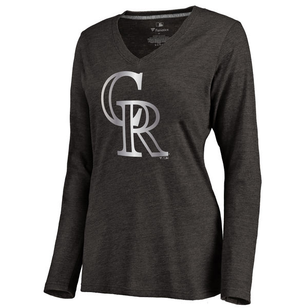 Colorado Rockies Women's Platinum Collection Long Sleeve V Neck Tri Blend T Shirt Black