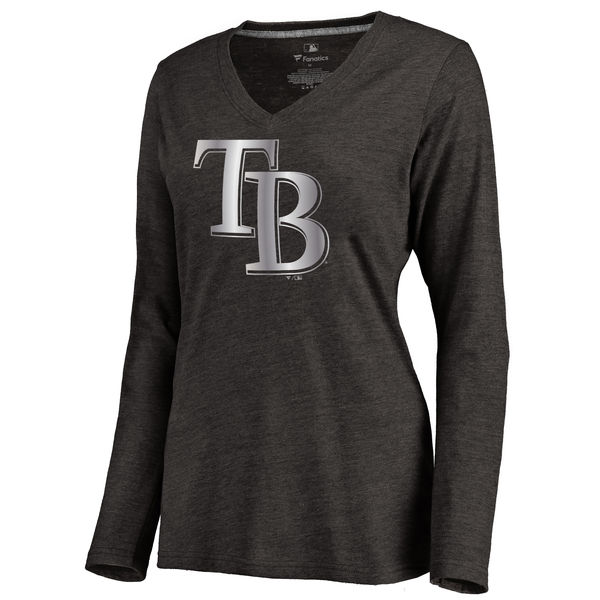 Tampa Bay Rays Women's Platinum Collection Long Sleeve V Neck Tri Blend T Shirt Black