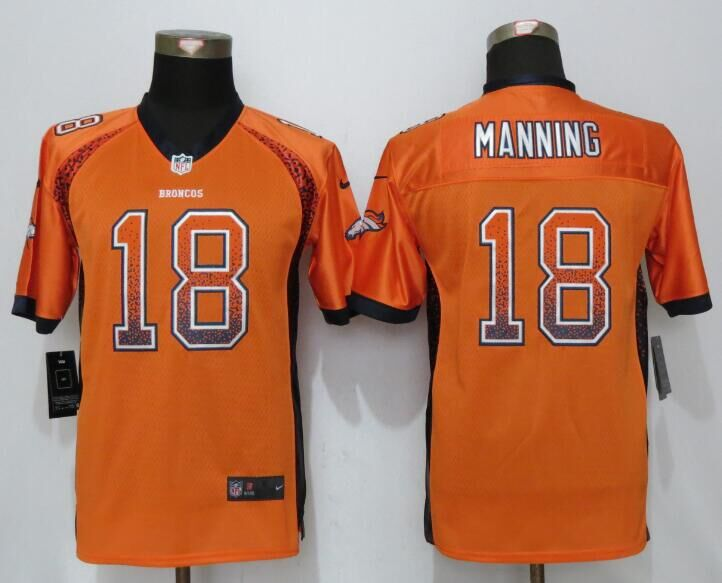 Nike Broncos 18 Peyton Manning Orange Youth Drift Fashion Jersey
