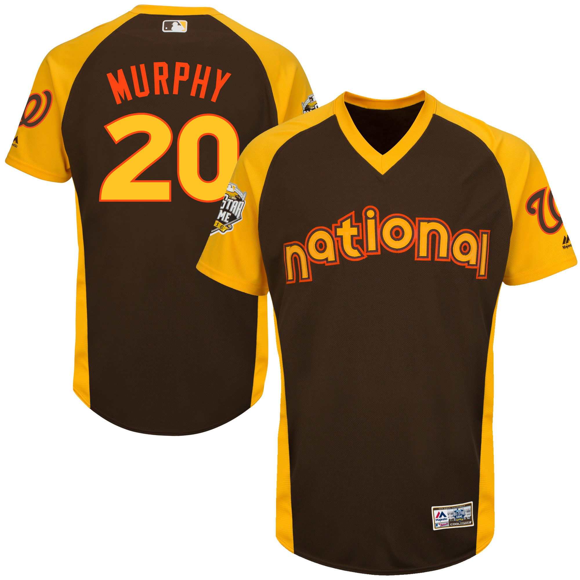 Nationals 20 Daniel Murphy Brown Youth 2016 All-Star Game Cool Base Batting Practice Player Jersey