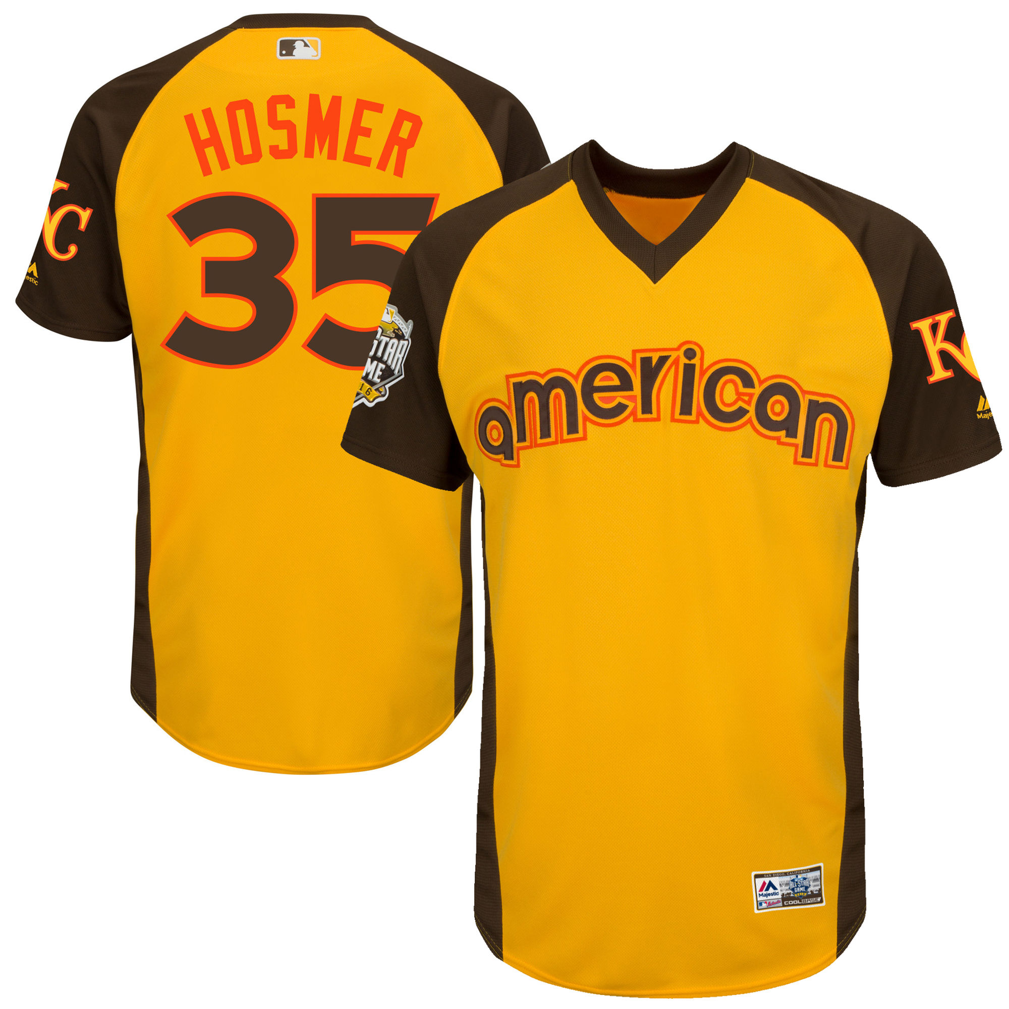 Royals 35 Eric Hosmer Yellow Youth 2016 All-Star Game Cool Base Batting Practice Player Jersey