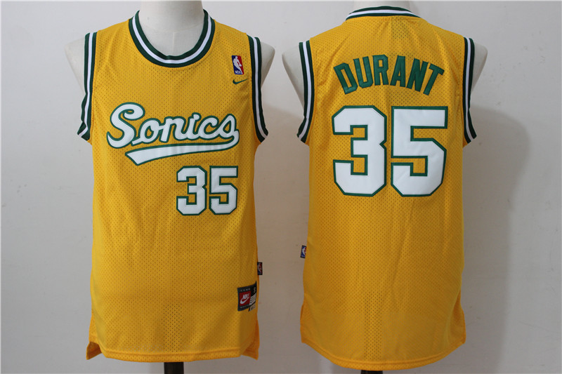 SuperSonics 35 Kevin Durant Yellow Nike Stitched Jersey