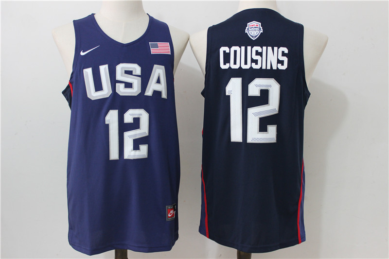 USA Basketball 12 DeMarcus Cousins Royal Nike Rio Elite Stitched Jersey