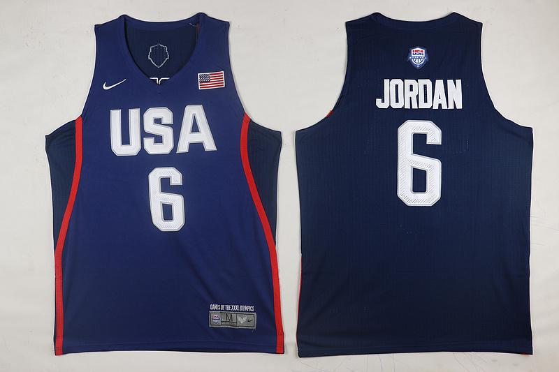 USA Basketball 6 DeAndre Jordan Royal Nike Rio Elite Stitched Jersey