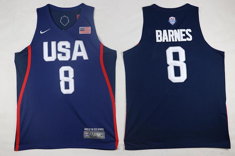 USA Basketball 8 Harrison Barnes Royal Nike Rio Elite Stitched Jersey