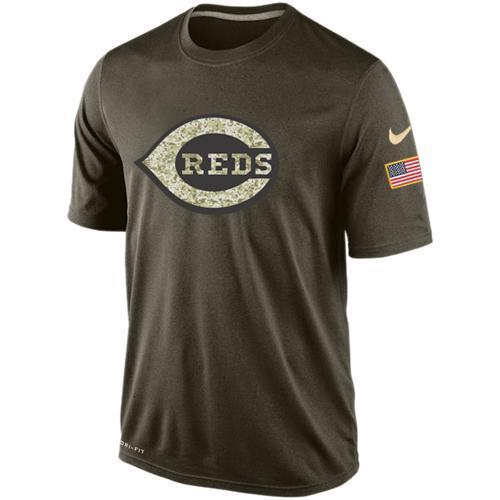 Nike Cincinnati Reds Olive Green Salute To Service Dri Fit Men's T-Shirt