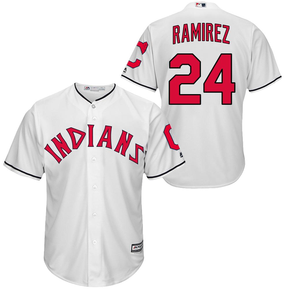 Indians 24 Manny Ramirez White New Cool Base Jersey