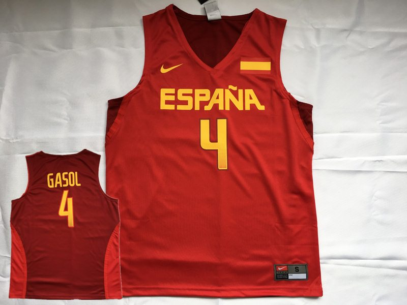 Spain Basketball 4 Pau Gasol Red Nike Rio Elite Jersey