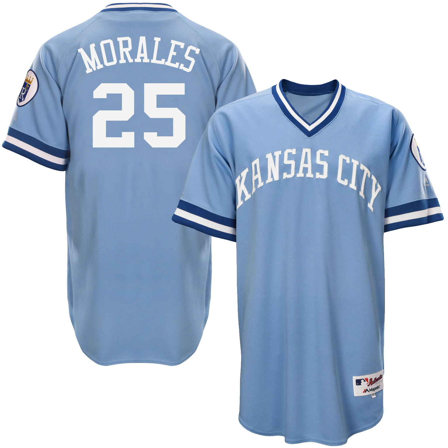 Royals 25 Kendrys Morales Light Blue Throwback Jersey
