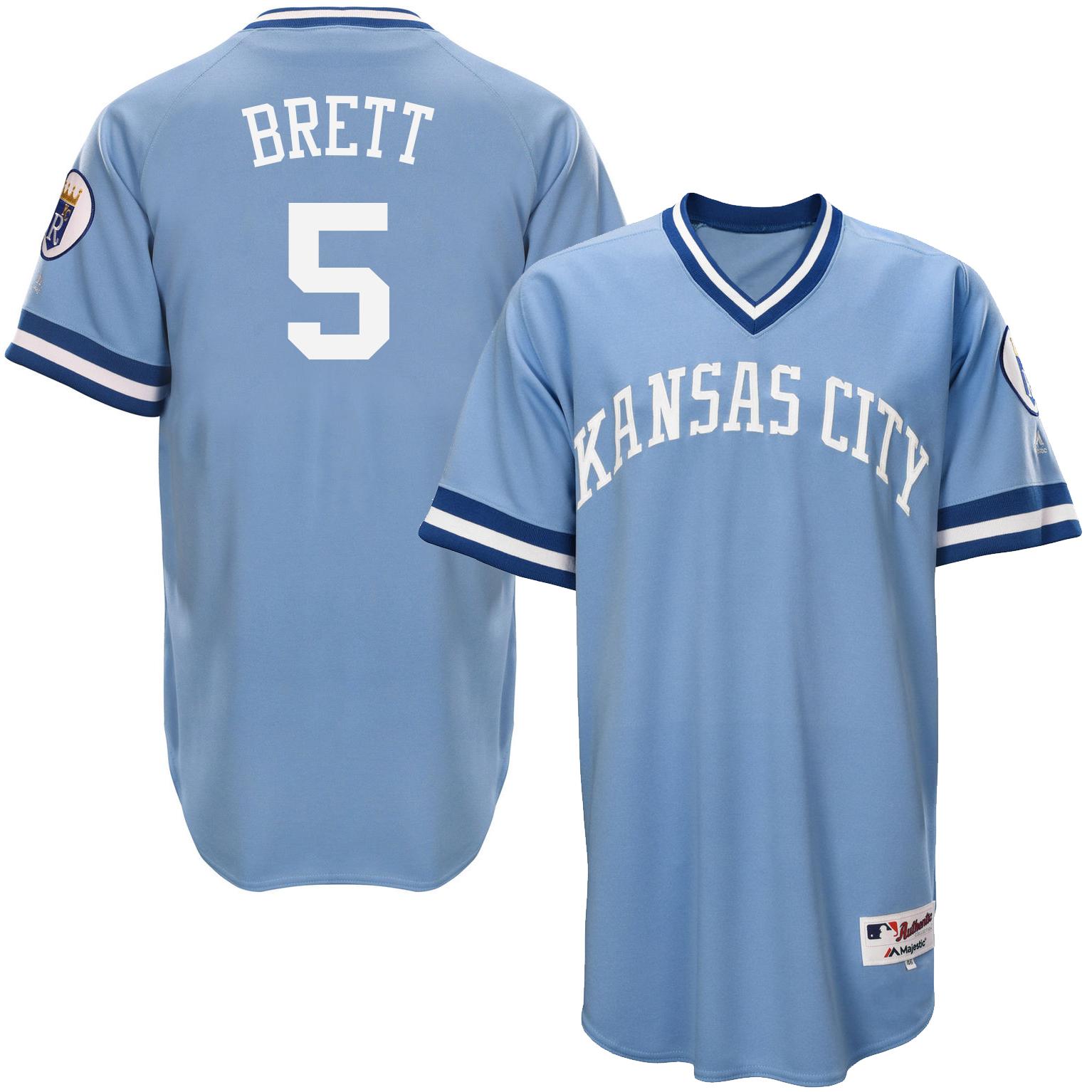 Royals 5 George Brett Light Blue Throwback Jersey