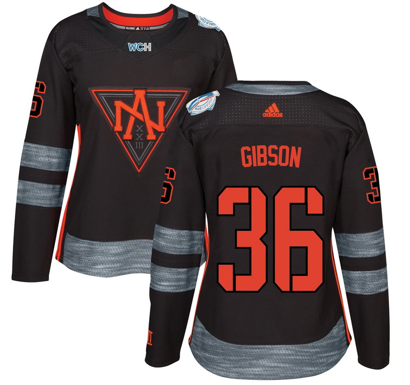 North America 36 John Gibson Black Women World Cup of Hockey 2016 Player Jersey