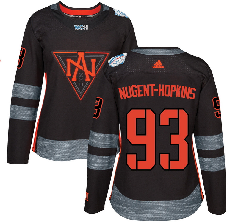North America 93 Ryan Nugent Hopkins Black Women World Cup of Hockey 2016 Player Jersey
