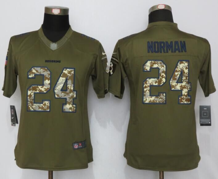 Nike Redskins 24 Josh Norman Green Salute To Service Limited Jersey