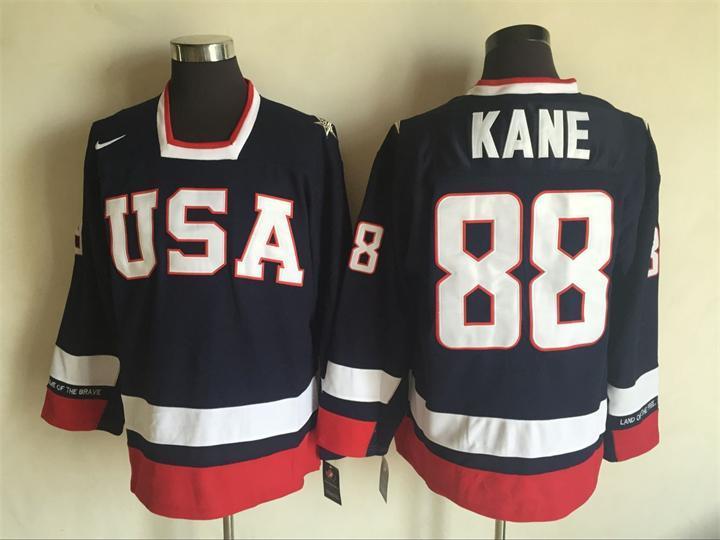 USA 88 Patrick Kane Navy Nike National Team Hockey Jersey