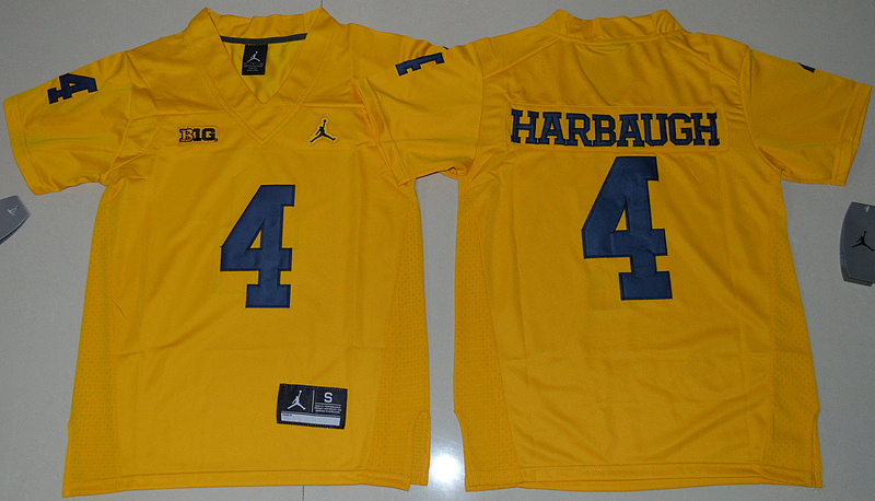 Michigan Wolverines 4 Jim Harbaugh Gold College Football Jersey