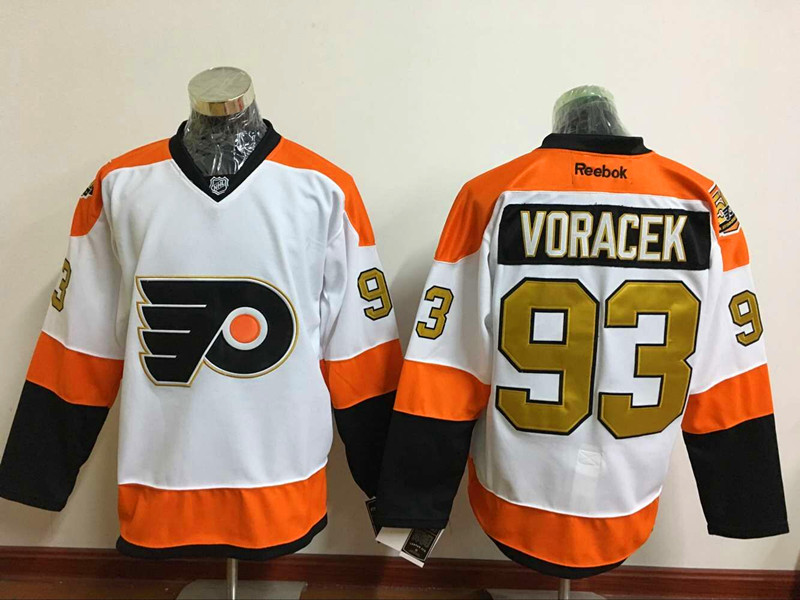 Flyers 93 Jakub Voracek White With 50th Anniversary Patch Reebok Jersey