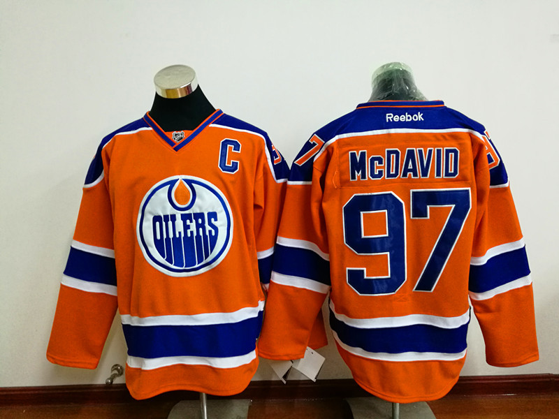 Oilers 97 Connor McDavid Orange C Patch Reebok Jersey