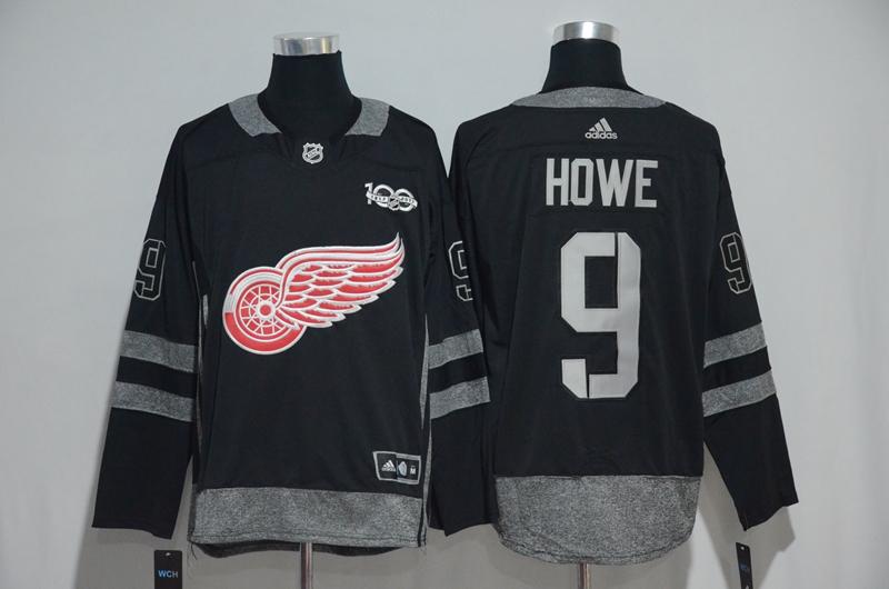 Red Wings 9 Gordie Howe Black 1917-2017 100th Anniversary Adidas Jersey