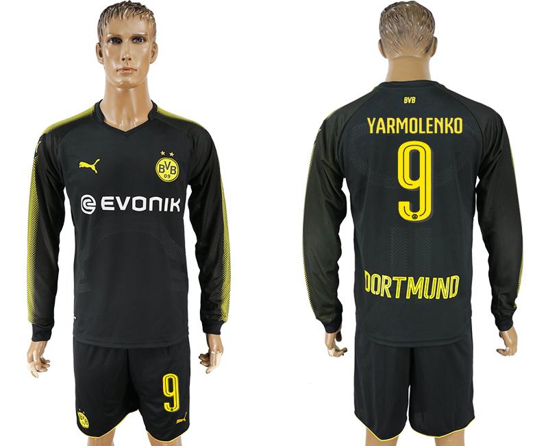 2017-18 Dortmund 9 YARMOLENKO Away Long Sleeve Soccer Jersey