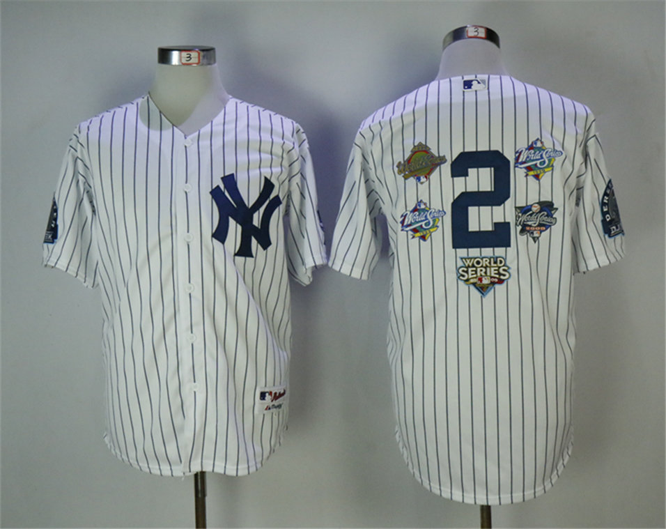 Yankees 2 Derek Jeter White 5x MLB World Series Champions Cool Base Jersey