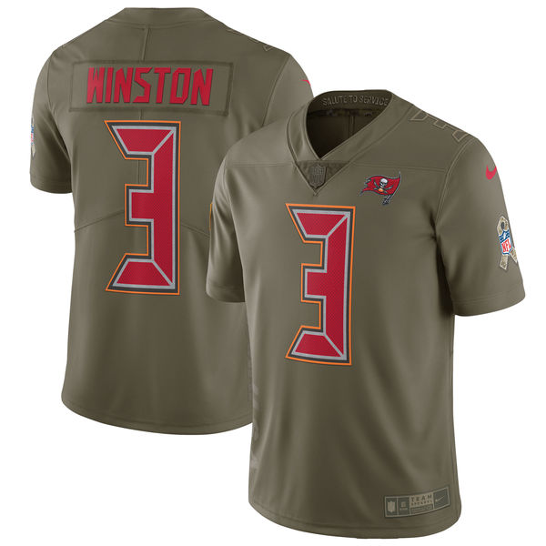 Nike Buccaneers 3 Jameis Winston Youth Olive Salute To Service Limited Jersey