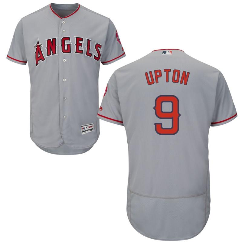 Angels 9 Justin Upton Gray Flexbase Jersey