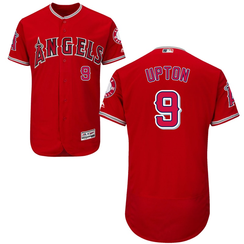 Angels 9 Justin Upton Red Flexbase Jersey