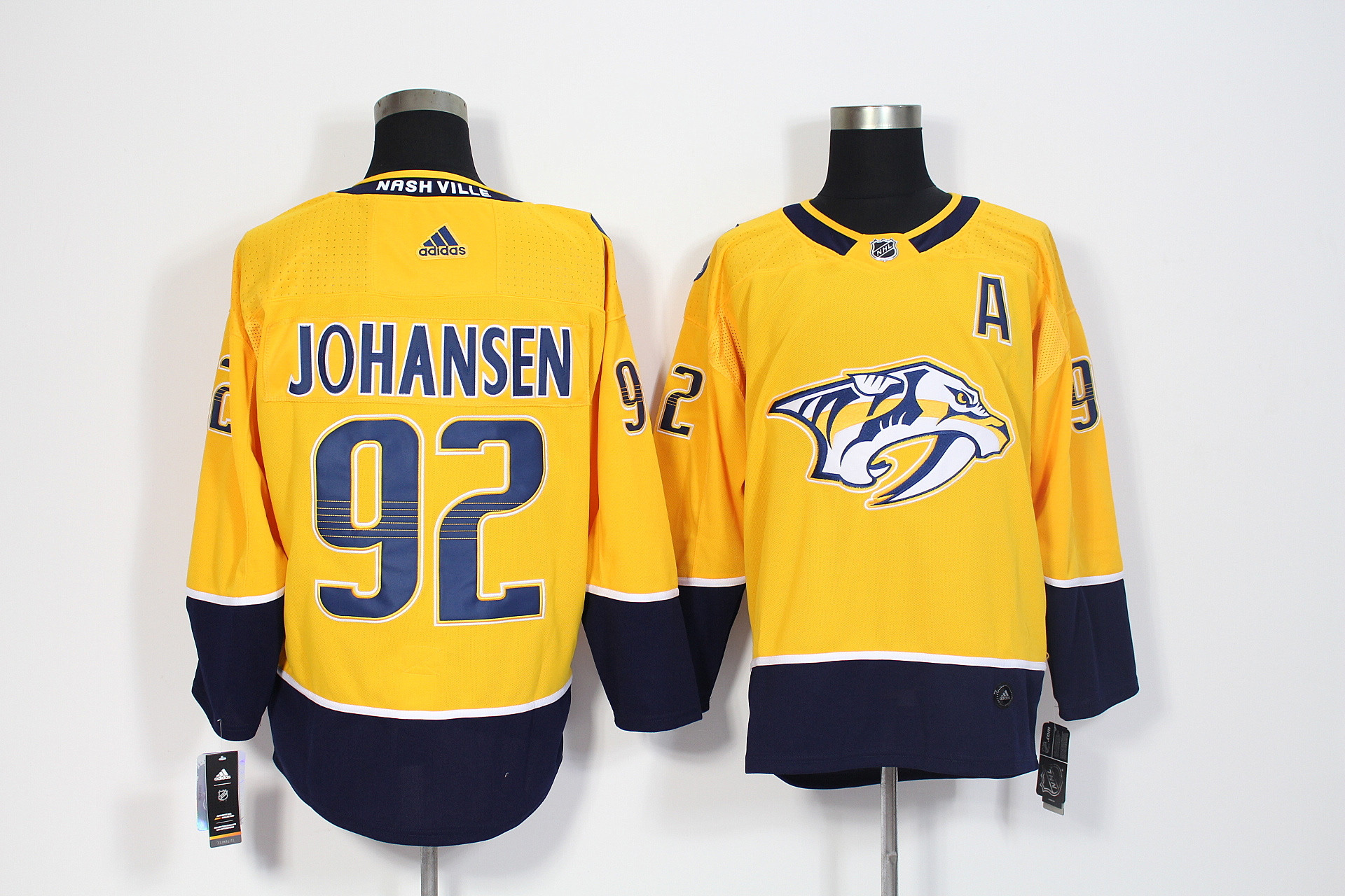 Predators 92 Ryan Johansen Yellow Adidas Jersey