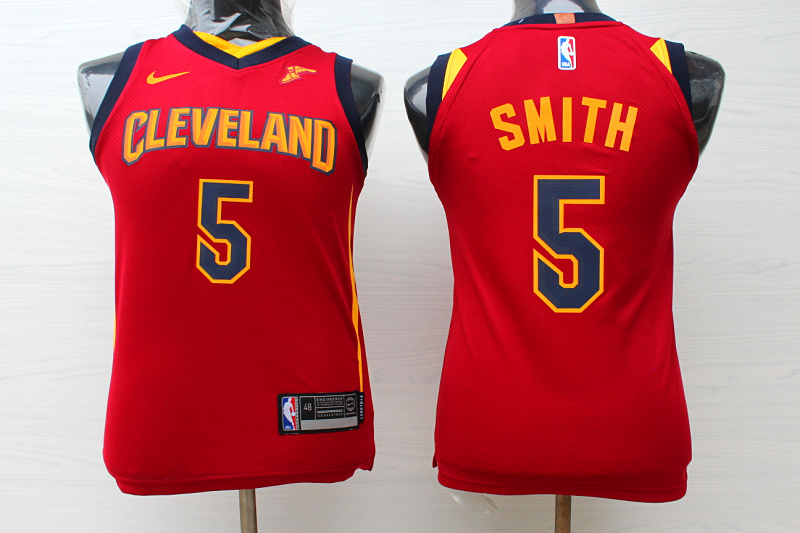 Cavaliers 5 J.R. Smith Red Youth Nike Replica Jersey