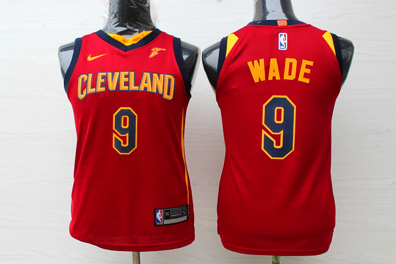 Cavaliers 9 Dwyane Wade Red Youth Nike Replica Jersey