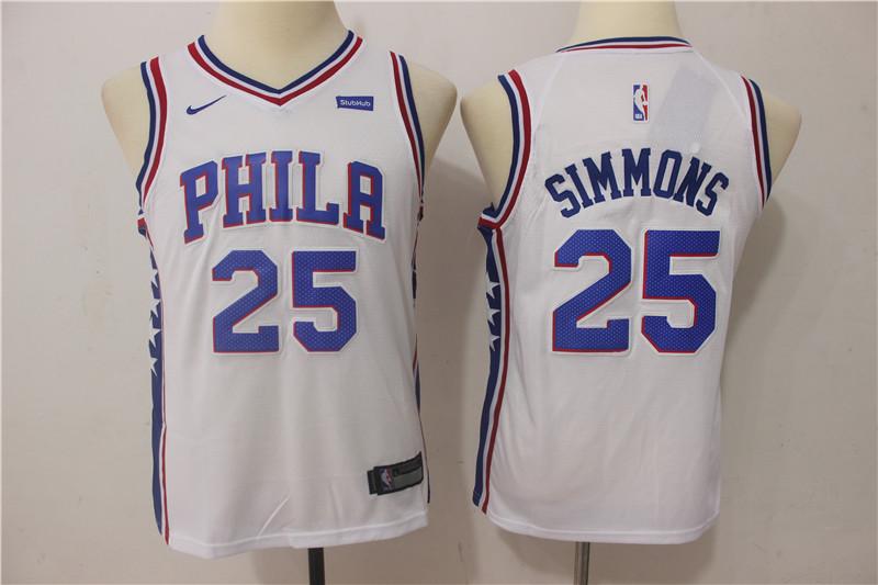 76ers 25 Ben Simmons White Youth Nike Swingman Jersey