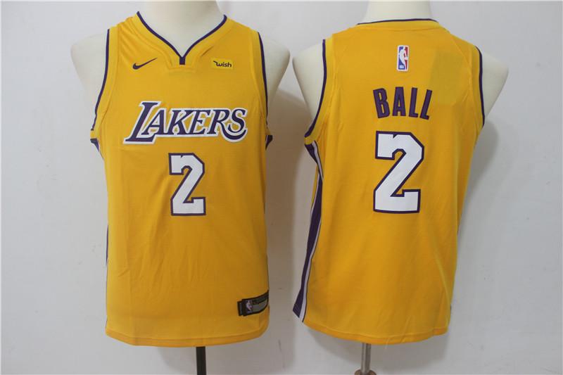 Lakers 2 Lonzo Ball Yellow Youth Nike Swingman Jersey